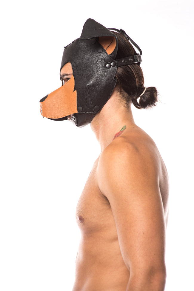 "Model wearing ""rex"" pup mask"
