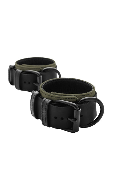 Black and army green leather ankle restraints