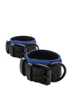 Black and blue leather ankle restraints