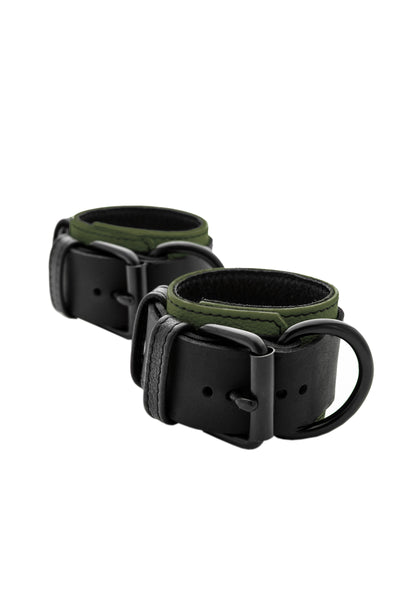 Army green and black leather wrist restraints