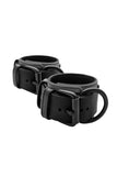 Black and grey leather wrist restraints
