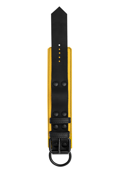 Yellow and black leather wrist restraint