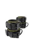 Army green and black leather wrist and ankle restraints set