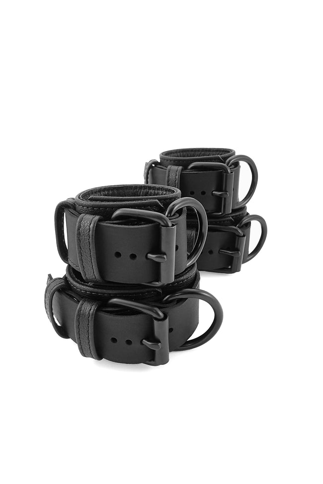 Black leather wrist and ankle restraints set