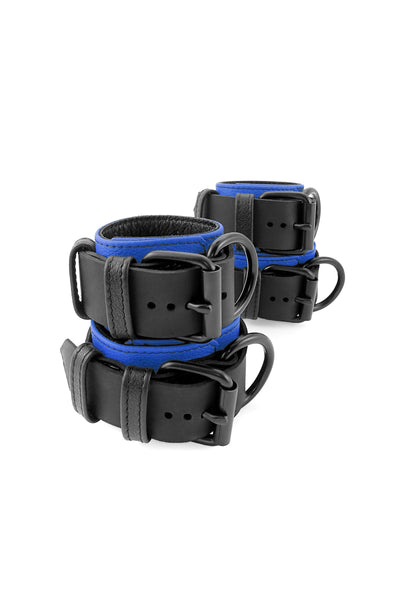 Blue and black leather wrist and ankle restraints set