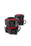 Red and black leather wrist and ankle restraints set