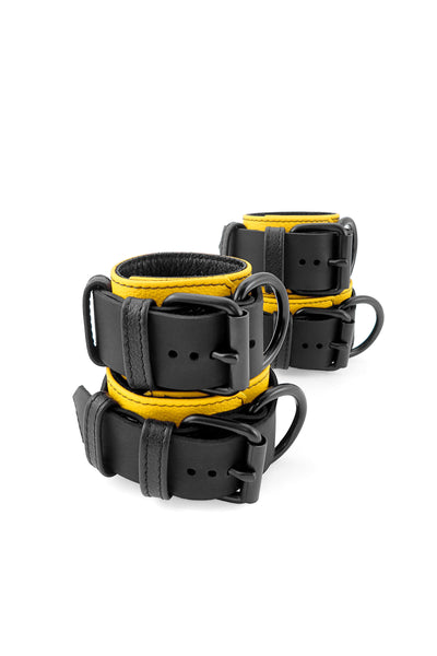Yellow and black leather wrist and ankle restraints set
