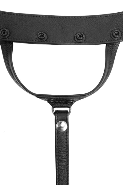 Product photo of a black leather and stainless steel thong. Front view.