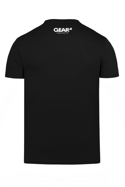 "Product photo of a black ""TROUBLE SYDNEY"" t-shirt. Back view."