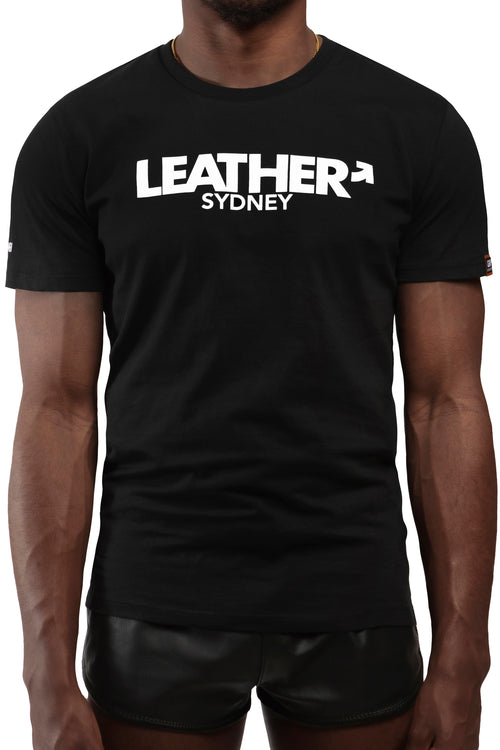 "Model wearing black ""LEATHER SYDNEY"" t-shirt. Front view."