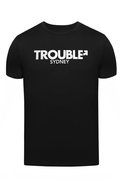 "Product photo of a black ""TROUBLE SYDNEY"" t-shirt. Front view."