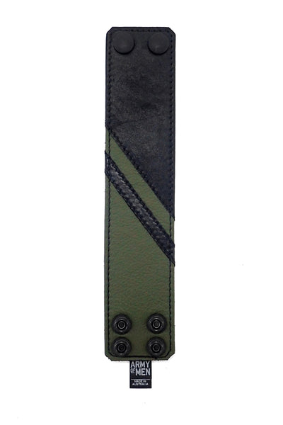 Black leather wristband with army green leather chevron detailing