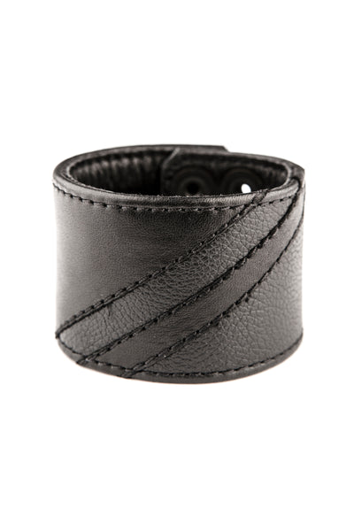 Black leather wristband with matt black leather chevron detailing