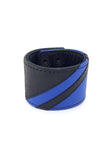 Black leather wristband with blue leather chevron detailing