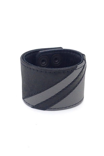 Black leather wristband with grey leather chevron detailing