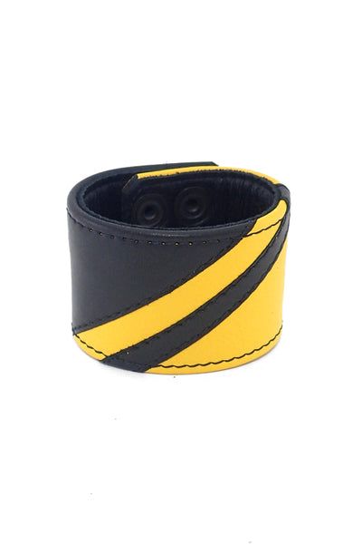 Black leather wristband with yellow leather chevron detailing