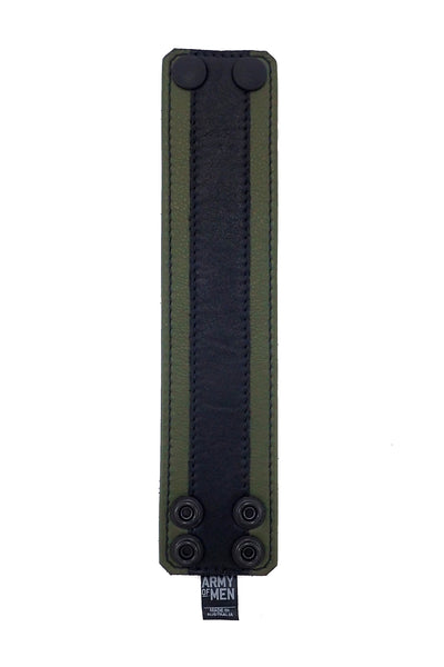 "2"" wide leather wristband with army green leather racer stripe detailing flat"