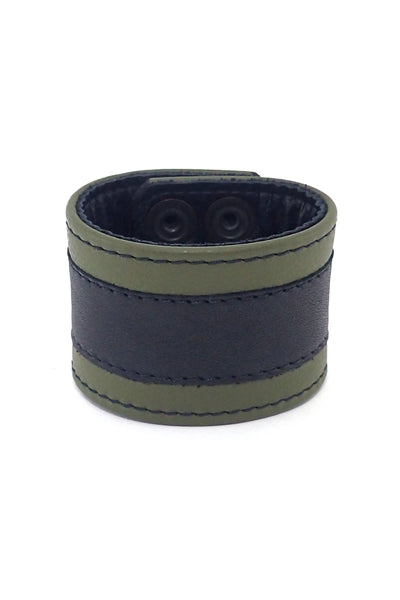 "2"" wide leather wristband with army green leather racer stripe detailing"