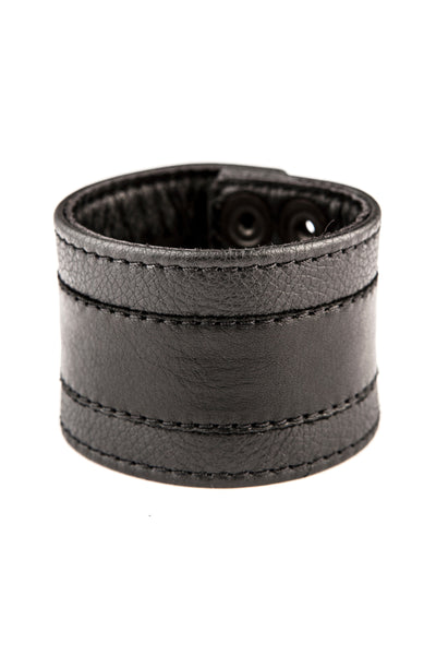 Black leather racer stripe wristband