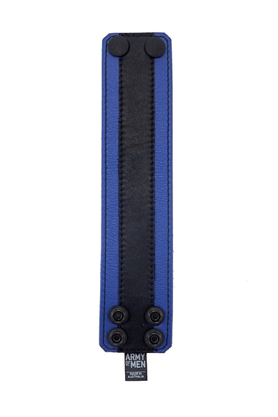"2"" wide leather wristband with blue leather racer stripe detailing flat"