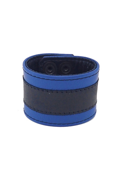 "2"" wide leather wristband with blue leather racer stripe detailing"