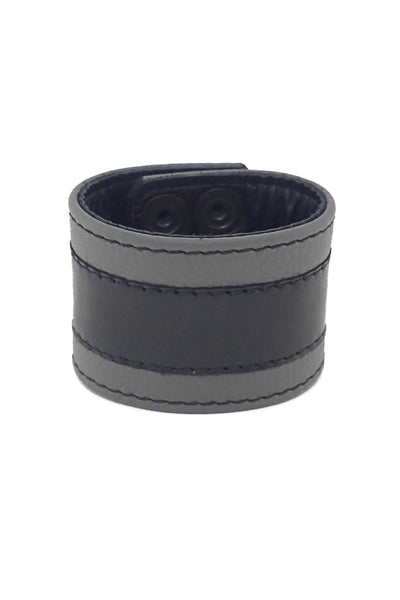 "2"" wide leather wristband with grey leather racer stripe detailing"