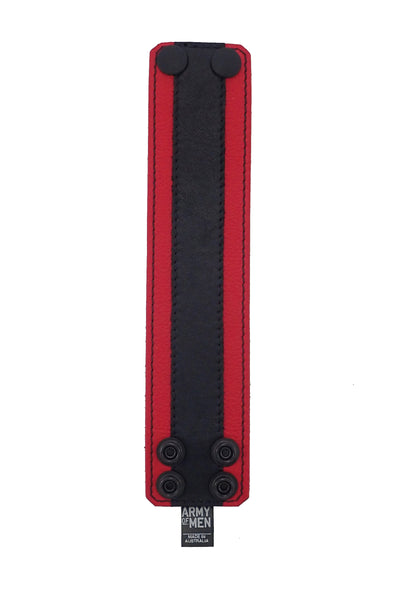 "2"" wide leather wristband with red leather racer stripe detailing flat"