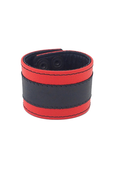 "2"" wide leather wristband with red leather racer stripe detailing"