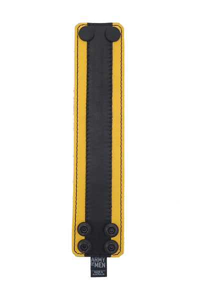 "2"" wide leather wristband with yellow leather racer stripe detailing flat"