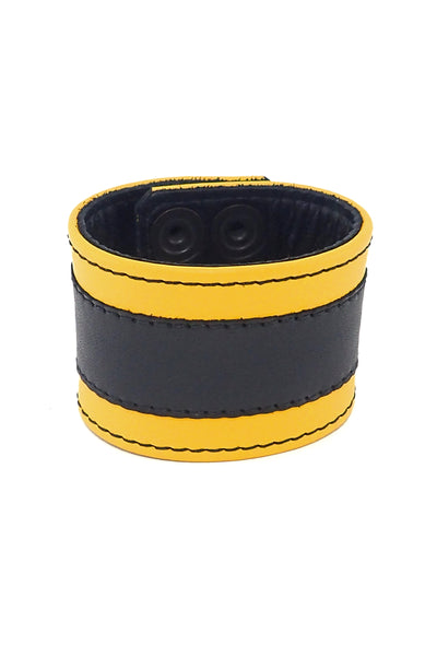 "2"" wide leather wristband with yellow leather racer stripe detailing"