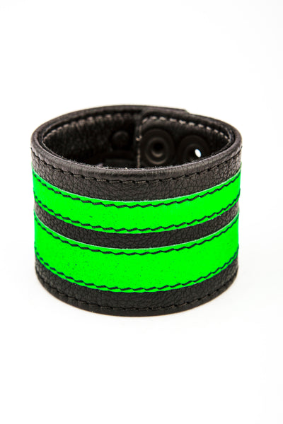 Fluro green leather stripe wristband