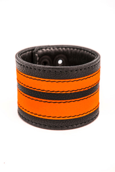 Fluro orange leather stripe wristband