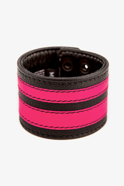Fluro pink leather stripe wristband