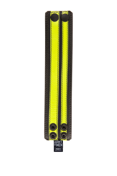 Fluro yellow leather stripe wristband