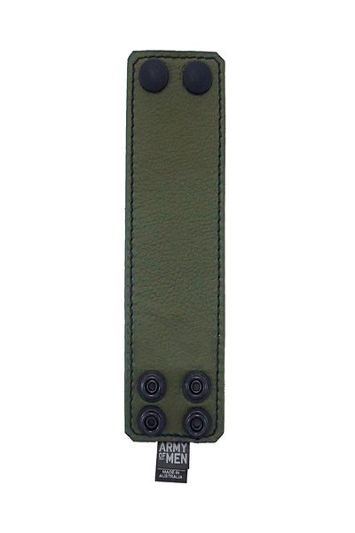 "Army green leather 2"" wide leather wristband flat"