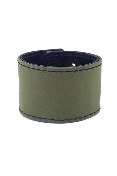 "Army green leather 2"" wide leather wristband"