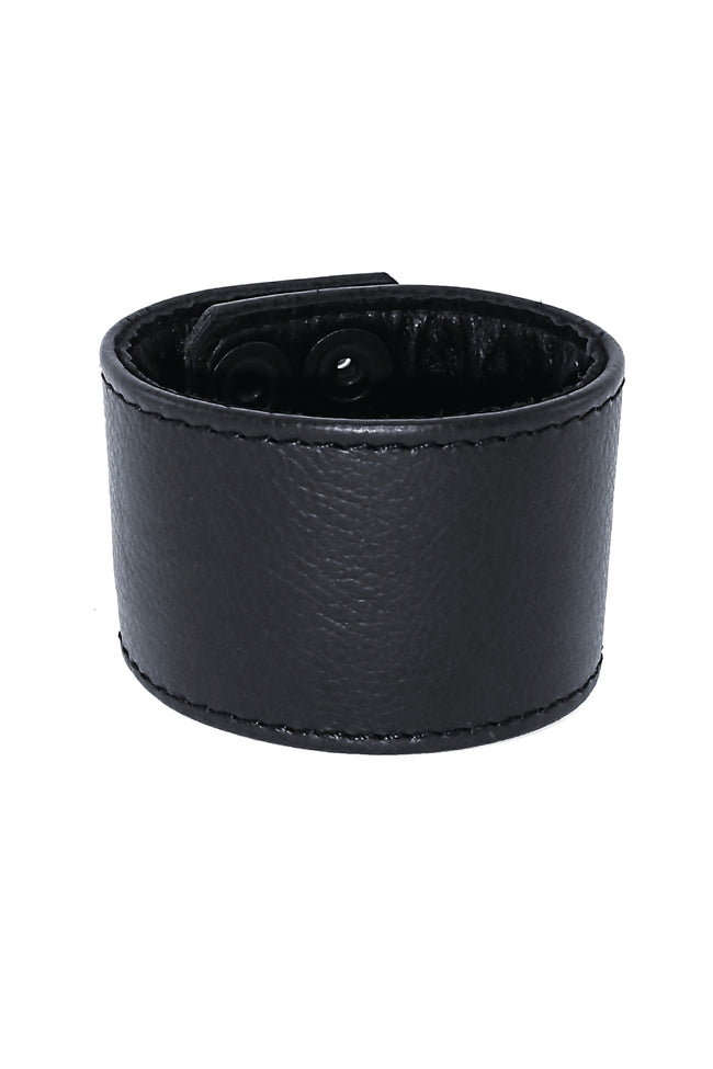 "2"" wide black leather wristband"