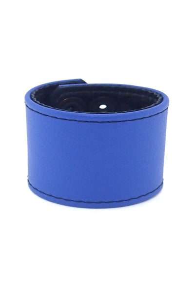 "Blue leather 2"" wide leather wristband"