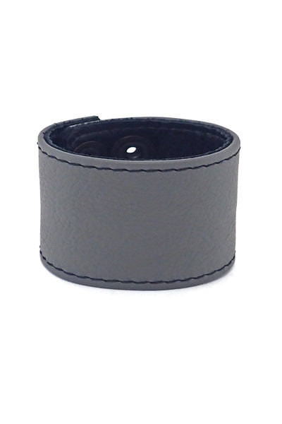 "Grey leather 2"" wide leather wristband"