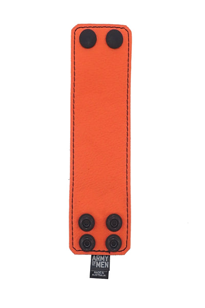 "Orange leather 2"" wide leather wristband flat"