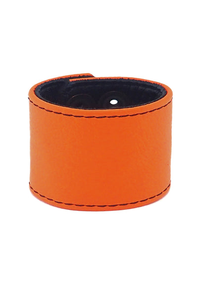 "Orange leather 2"" wide leather wristband"