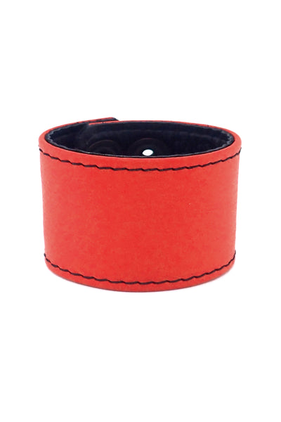 "Red leather 2"" wide leather wristband"