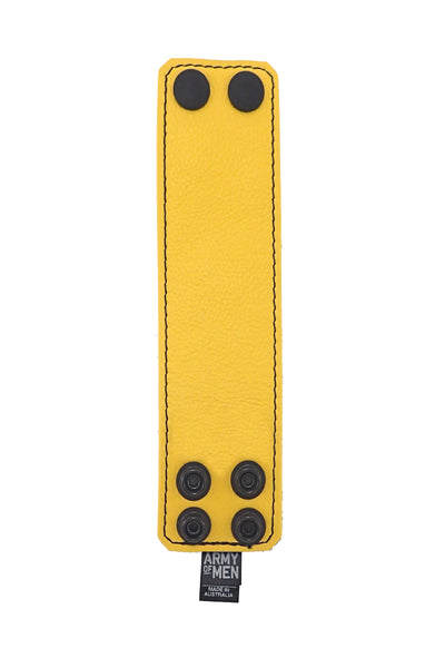 "Yellow leather 2"" wide leather wristband flat"