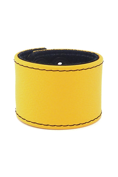 "Yellow leather 2"" wide leather wristband"