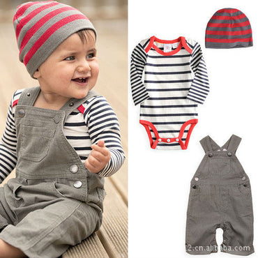 Newborn Baby Boy Clothes Set (Kid overalls+Baby Romper+Cap)