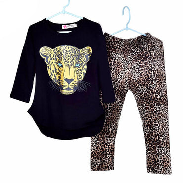 Girls Clothes Leopard Full Sleeve T-Shirt & Legging