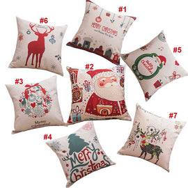 Santa Claus Deer Series Linen Blend Cushion Covers