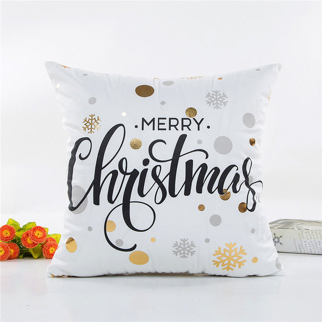 Gold Printed Christmas Pillow Covers 18x18