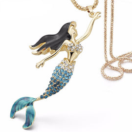 Enamel Crystal Mermaid Necklaces