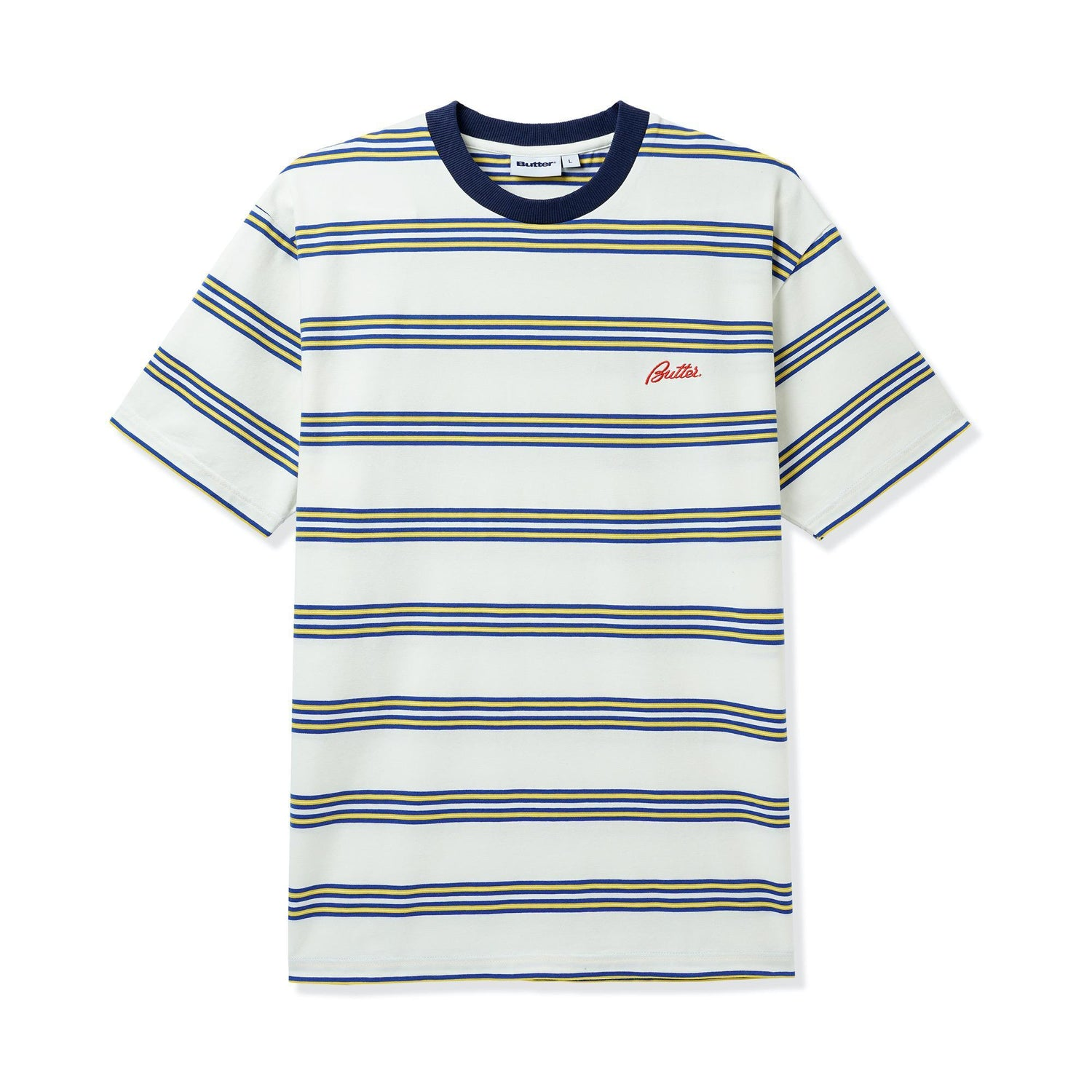 Market Stripe Tee, White / Yellow / Royal